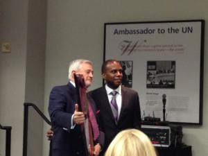 Main Donor David Janes thanked by Dean Reggie Gilyard
