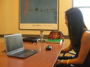 Gina Jue on Skype with Oricane COO Josefine Åhl
