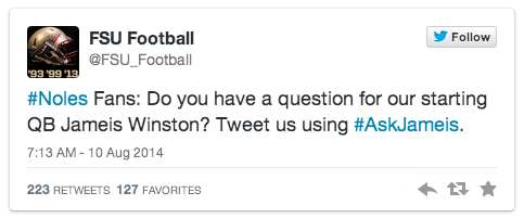 Ask Jameis Twitter chat